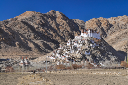 Picturesque view of Chemrey monastery from the distance, Ladakh photo