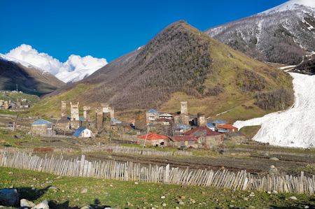 A group of houses on the way from Mestia to Ushguli photo