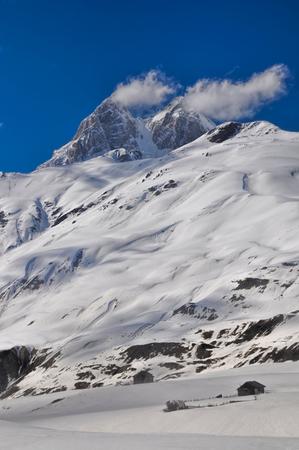 mestia: Peaks of Caucasus Mountains in Svaneti Province, Georgia
