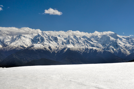 Panoramic view of peaks of Caucasus Mountains covered in snow, Svaneti Province photo