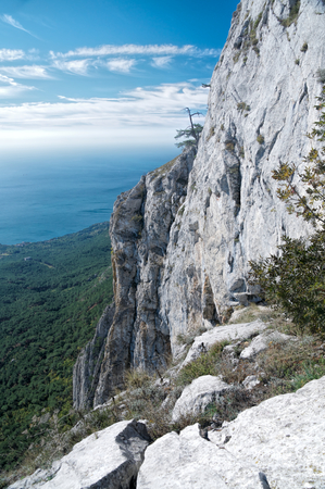 the crag: Beautiful view of the top of a steep crag in Yalta, Crimea