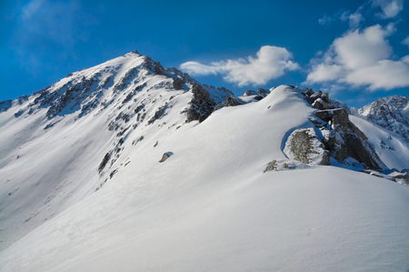 kackar: Beautiful blue sky with passing clouds over Kackar Mountains covered in snow