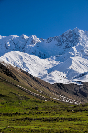 Slopes of the moutain between Mestia and Ushguli, contrasting colours photo
