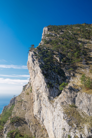 Scenic view of the top of a steep crag in Yalta, Crimea photo