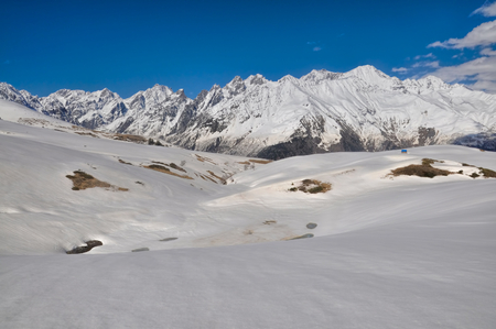 mestia: Gorge in the Caucasus mountains covered in snow, Svaneti