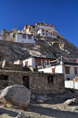 the setting sun: View of Chemrey monastery in the setting sun, Ladakh Stock Photo