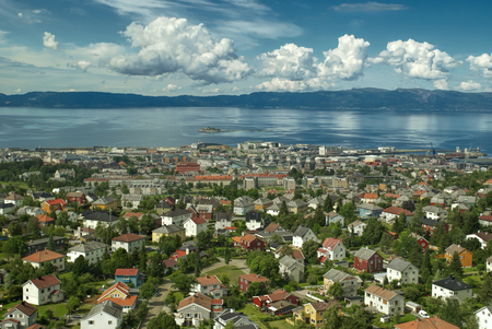 Scenic view of Trondheims urban area with the fjord in the background photo