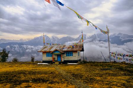 arunachal pradesh: Picturesque house in traditional colours in Arunachal Pradesh, India