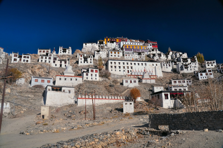 gompa: Close-up view of Thiksey monastery complex in India Stock Photo