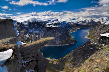 Picturesque view of Trolltunga and the fjord underneath, Norway  photo
