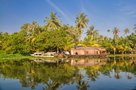 Picturesque houseboat traditional for Alleppey region in India
