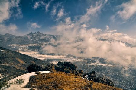 arunachal pradesh: Scenic view of mountains and clouds in Arunachal Pradesh region, India
