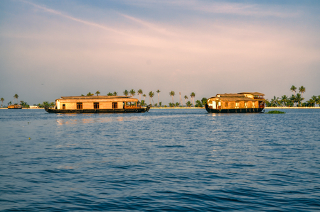 alappuzha: Traditional wooden houseboats in Alleppey region in India