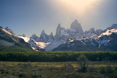 los glaciares: Chilean mountains bathing in sunlight in Los Glaciares National Park Stock Photo