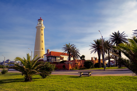 Picturesque view of a promenade at sunset in Punta del Este