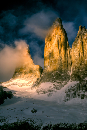 torres del paine: Picturesque view of Torres del Paine in south American Andes                    Stock Photo