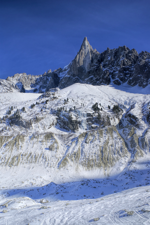 blanche: Amazing view of snowy peaks of Alps in France