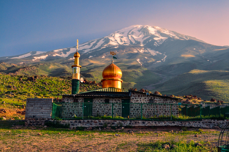 Picturesque mosque underneath volcano Damavand, highest peak in Iran