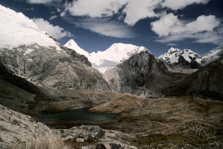 alpamayo: Stunning view of highest mountain peaks in Peruvian Andes, Cordillera Blanca Stock Photo