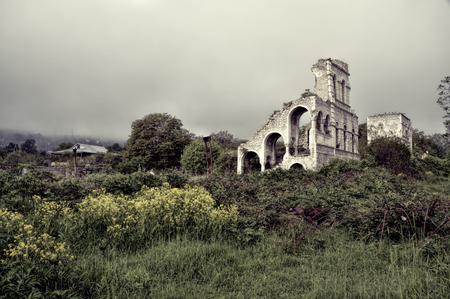 Ruins of old villa in mountainous Karabakh destroyed by war photo