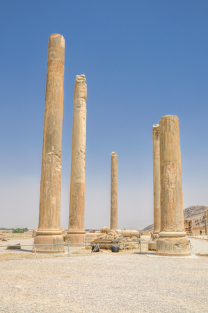 fars: Pillars in ancient persian capital Persepolis in current Iran
