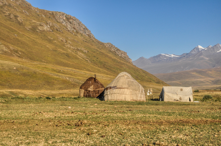 nomads: Yurts of nomads on green grasslands in Kyrgyzstan