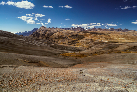 Arid landscape high in the Andes mountains in Bolivia, Choro trek