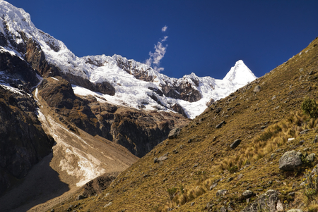 Deep canyon between high mountain peaks in Peruvian Andes Stock Photo