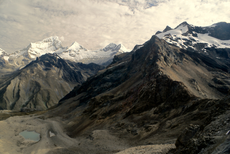 Picturesque canyons around Alpamayo, one of highest mountain peaks in Peruvian Andes, Cordillera Blanca