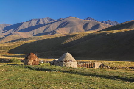 Traditional yurts on green grasslands in Kyrgyzstan