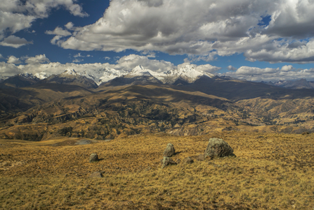 cordillera: Panoramic view of clouds passing over slopes of Peruvian Cordillera Negra