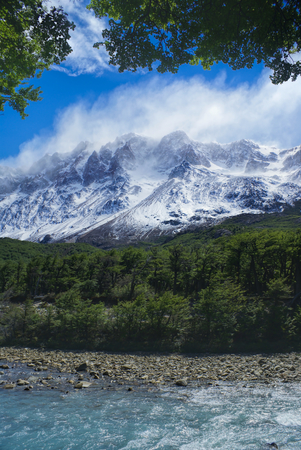 los glaciares: Scenic view of clouds passing over high mountains in Los Glaciares National Park