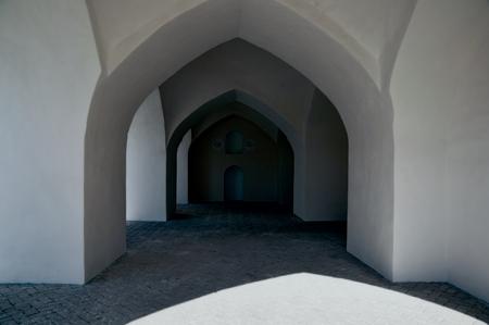 passageway: Architecture of dark old passageway in Merv, Turkmenistan in Asia Stock Photo