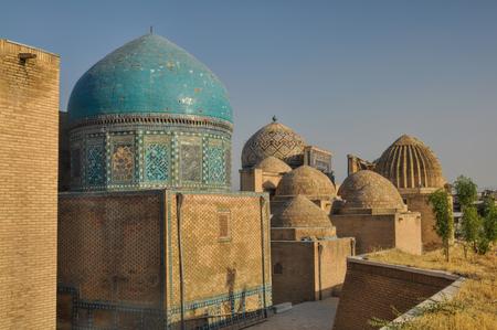 islamic scenery: Beautifully decorated domes in Samarkand, Uzbekistan