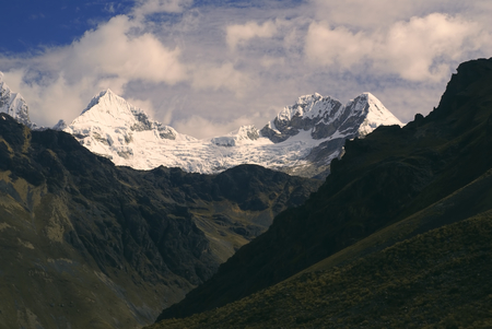 cordillera: Deep canyons around Alpamayo, one of highest mountain peaks in Peruvian Andes, Cordillera Blanca
