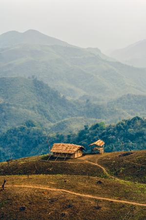arunachal pradesh: Traditional tribal settlement in remote region of Nagaland, India