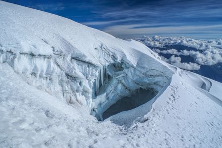 crevasse: Crevasse in glacier near top of Huayna Potosi mountain in Bolivia Stock Photo
