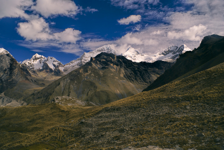 Amazing landscape around Alpamayo, one of highest mountain peaks in Peruvian Andes, Cordillera Blanca
