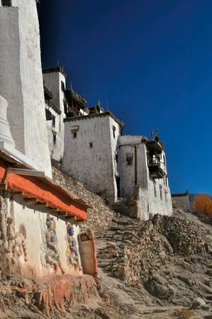 sideview: Side-view of the white buildings in Thiksey monastery, India Stock Photo