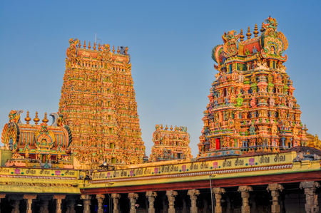 temple tower: Beautiful colorful towers of Meenakshi Amman Temple in India