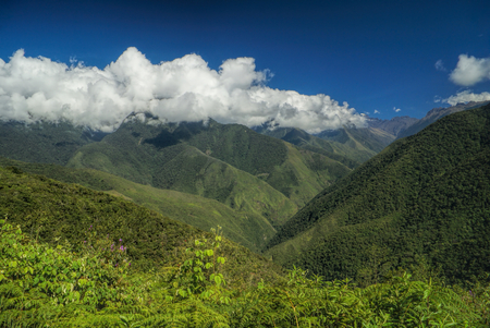 Picturesque green valley in Andes mountains in Bolivia on Choro trek Banco de Imagens