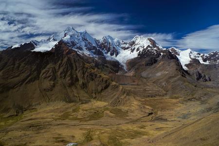alpamayo: Breathtaking scenery around Alpamayo, one of highest mountain peaks in Peruvian Andes, Cordillera Blanca