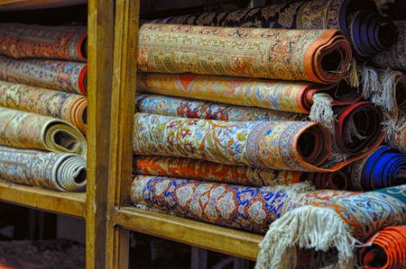 carpet: Rolls of persian carpets in Iran Stock Photo