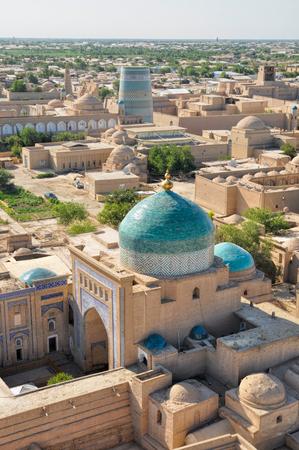 islamic scenery: Beautiful large islamic mosque in Khiva, Uzbekistan, seen from air