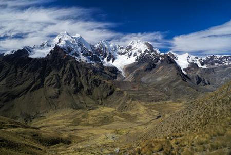 alpamayo: Breathtaking valleys around Alpamayo, one of highest mountain peaks in Peruvian Andes, Cordillera Blanca Stock Photo
