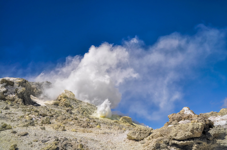 sulfide: Sulfide fumes coming out of slopes of Damavand, highest volcano in Iran Stock Photo