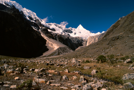 Picturesque valley between highest mountain peaks in Peruvian Andes, Cordillera Blanca