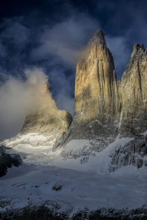 torres del paine: Amazing morning view of Torres del Paine in south America Stock Photo