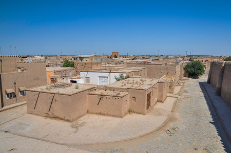 islamic scenery: Scenic view of Khiva, town in Uzbekistan with its typical houses