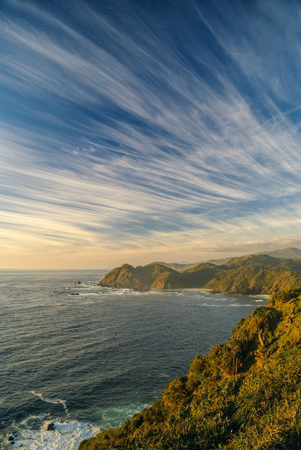 windswept: Breathtaking view of windswept sky over Parque Nacional Chiloe